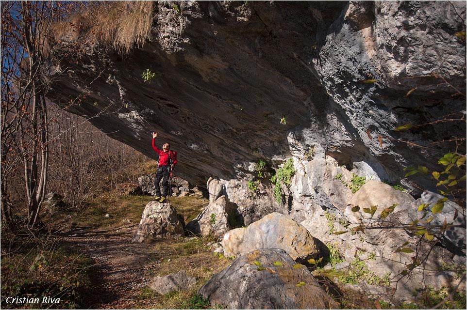 Monte Cancervo da Pianca: soffitto in roccia alla Corna del Tecc