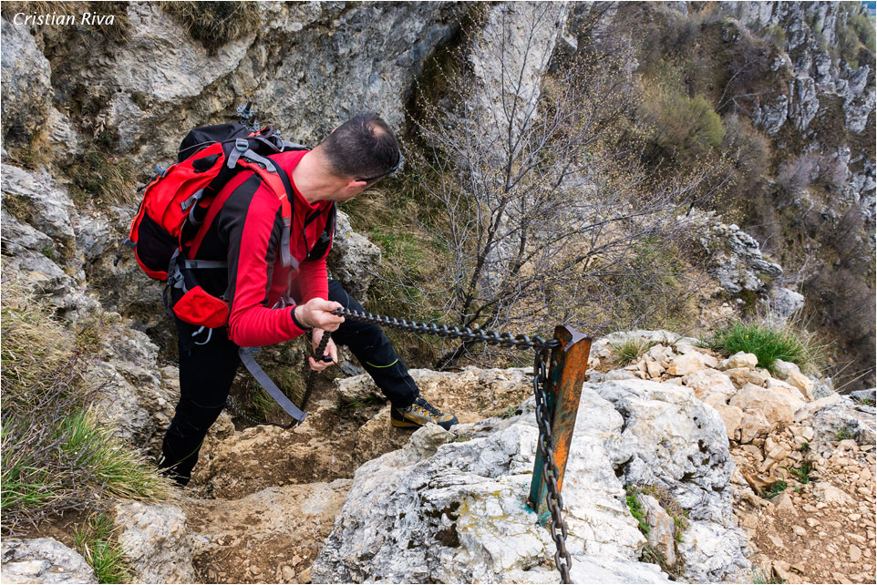 Monte Moregallo via Preguda: tratto attrezzato con catene