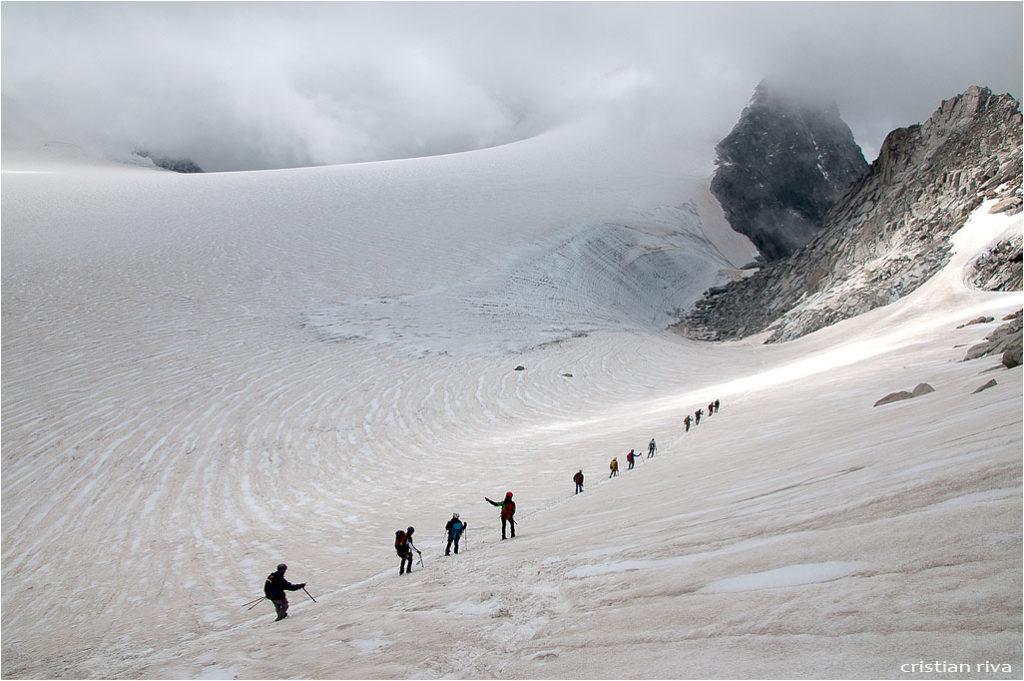 Monte Adamello via Terzulli: escursionisti in discesa verso il Passo Adamello