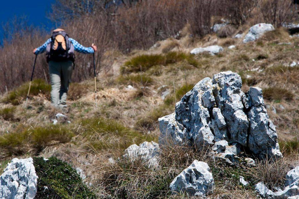 Monte Pizzoccolo dalla Cresta Sud: escursionista